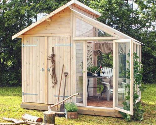 Redskapsbod i kombination med växthus - Säljs på Buildor